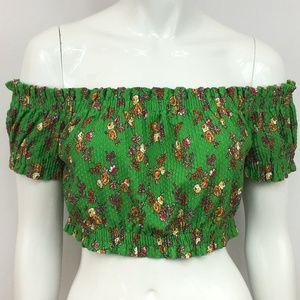 Topshop Ditsy Gypsy Floral Green Crop Top Sz 8 NEW